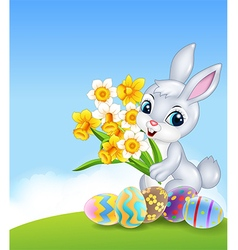 Cartoon happy bunny holding flower with colourful vector
