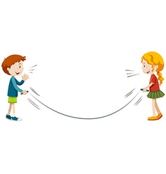 Boy and girl playing jump rope vector