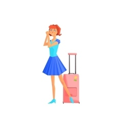 Female tourist with suitcase vector