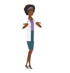 African confused doctor shrugging shoulders vector