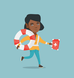 African paramedic running with a first aid box vector
