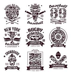 Baseball rugby snowboard skateboard sport emblems vector image vector image
