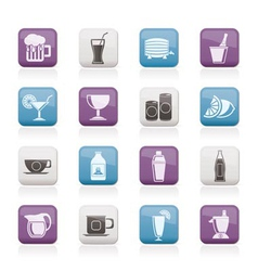 beverages and drink icons vector image