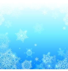 Blue snowflakes light winter background vector image