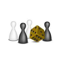 Board game figures and brown dice vector