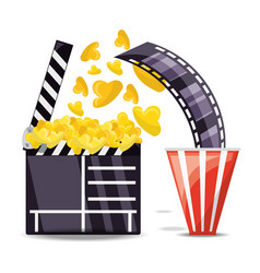 clapperboard with popcorn and filmstrip scene vector image