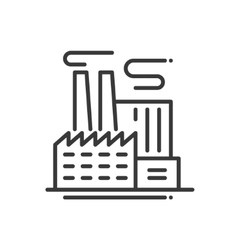 Factory building - line design single isolated vector