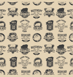 farm fresh pork meat labels pattern design vector image vector image