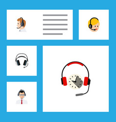 Flat call set of telemarketing earphone vector