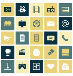 Flat design icons for media vector image