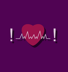 flat icon design collection heart with cardio in vector image