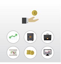 flat icon gain set of cash strongbox portfolio vector image
