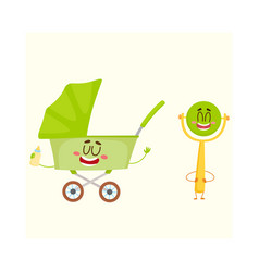 Funny baby cart stroller buggy and rattle vector