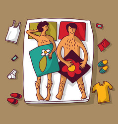 gay homosexual naked man couple in bad vector image vector image