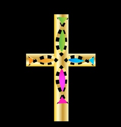 Gold cross with colored fish design vector