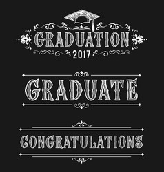 Happy graduation day congratulations in victorian vector