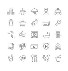 Hotel icons set thin line vector