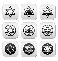 Jewish Star of David icons set isolated on white vector image