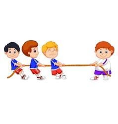 Kids cartoon playing tug of war vector image vector image