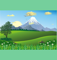 Landscape - mountain range on the horizon vector