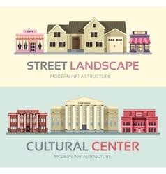 Landscape street town banners set town vector