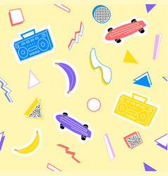 Memphis pattern with geometry skateboard recorder vector