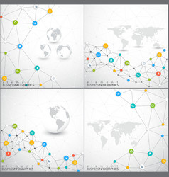 Modern set of infographic network template vector