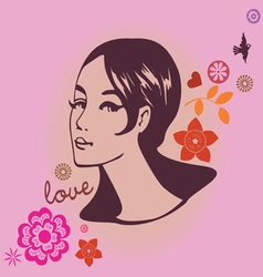 portrait of the young girl vector image vector image
