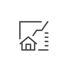 Real estate graph line icon vector