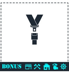 Safety belt icon flat vector