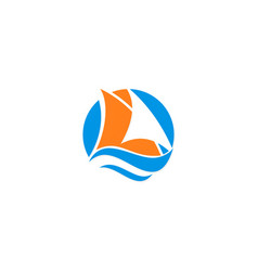 sail boat logo vector image