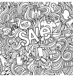 Sale hand lettering and doodles elements vector