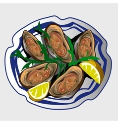 Sea delicacy oysters with lemon and seasoning vector