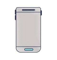 smartphone device icon in colored crayon vector image vector image