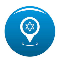 Synagogue map pointer icon blue vector