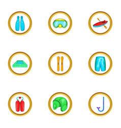Water sport equipment icon set cartoon style vector