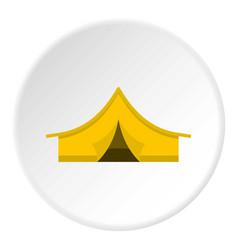 Yellow tourist tent icon circle vector