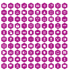 100 cyber security icons hexagon violet vector
