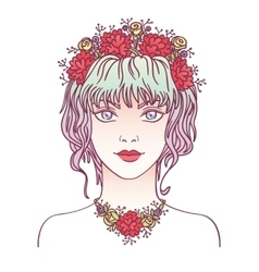 Young girl with flowers in her curly violet hair vector image