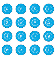 Currency gold coin icon blue vector
