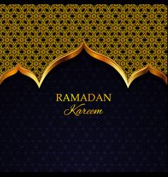 Ramadan kareem greeting card gold pattern vector