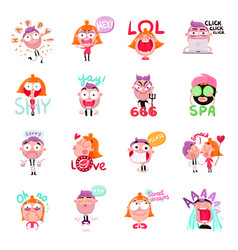 People stickers set vector