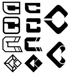 C logo icons 01 vector