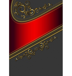Red border with gold pattern vector
