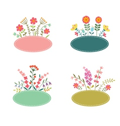 Set of romantic flower labels vector
