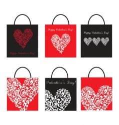 Valentine's Day shopping bags vector image