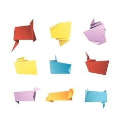 Origami banner speech bubble paper set vector