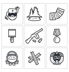 Guerrillas warrior icons set vector