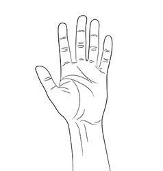Greeting hand gesture outline contour vector