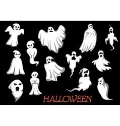 White flying halloween monsters and ghosts vector